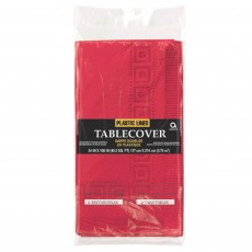 Apple Red Plastic Line Table Cover 1.37m x 2.74m