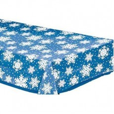 Christmas Party Supplies - Plastic Table Cover Snowflakes Clear
