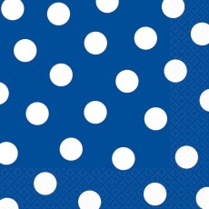 Dots & Stripes Blue with White Polka Dots Lunch Napkins