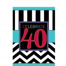 Chevron Design Celebration 40th Birthday Plastic Table Cover