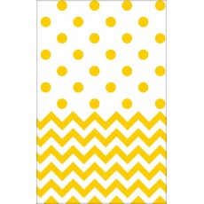 Chevron Design Sunshine Yellow  Plastic Table Cover