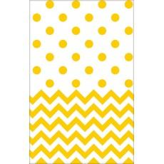 Sunshine Yellow Chevron Design Plastic Table Cover 1.37m x 2.59m