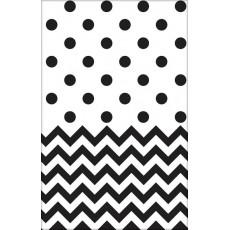 Chevron Design Jet Black  Plastic Table Cover