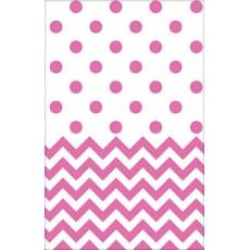 Bright Pink Chevron Design Plastic Table Cover 1.37m x 2.59m