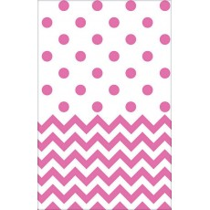 Chevron Design Bright Pink  Plastic Table Cover