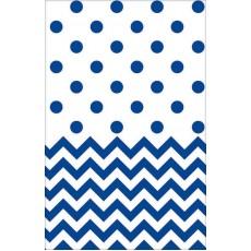 Bright Royal Blue Chevron Design Plastic Table Cover 1.37m x 2.59m