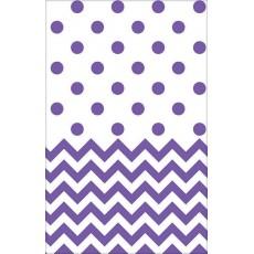 New Purple Chevron Design Plastic Table Cover 1.37m x 2.59m