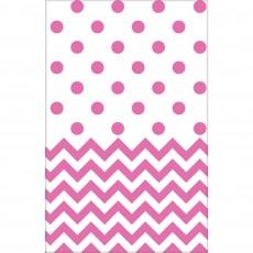 New Pink Chevron Design Plastic Table Cover