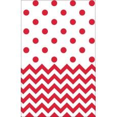 Apple Red Chevron Design Plastic Table Cover 1.37m x 2.59m