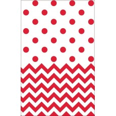 Chevron Design Apple Red  Plastic Table Cover