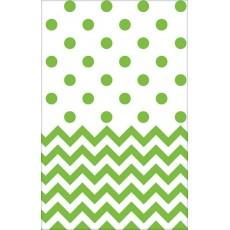 Kiwi Green Chevron Design Plastic Table Cover 1.37m x 2.59m