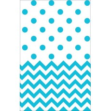 Chevron Design Caribbean Blue  Plastic Table Cover