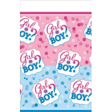 Gender Reveal Girl or Boy? Plastic Table Cover 1.37m x 2.59m