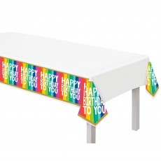 Rainbow Party Supplies - Plastic Table Cover Wishes