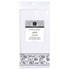Silver White with  Trim Premium Paper Table Cover
