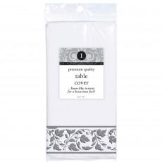 White with Silver Trim Premium Paper Table Cover 1.37m x 2.74m