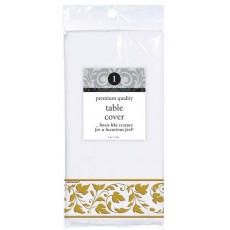 Gold Premium White with  Trim Paper Table Cover