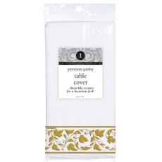 Premium White with Gold Trim Paper Table Cover 1.37m x 2.59m