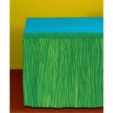Hawaiian Luau Green Table Fringe Skirt Table Cover
