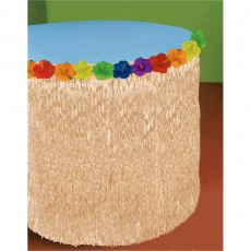 Hawaiian Luau Natural Look & Hibiscus Flowers Table Skirt