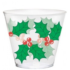 Christmas Party Supplies - Plastic Glasses Holly Design Clear Tumblers