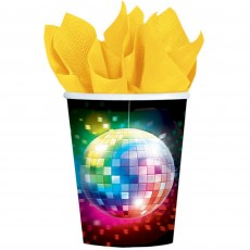 Disco & 70's Disco Fever Paper Cups 266ml Pack of 8