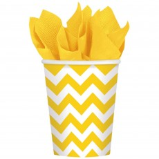 Sunshine Yellow Chevron Design Paper Cups 266ml Pack of 8