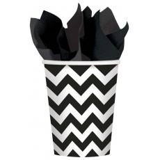 Jet Black Chevron Design Paper Cups 266ml Pack of 8