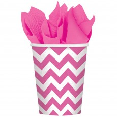 Bright Pink Chevron Design Paper Cups 266ml Pack of 8