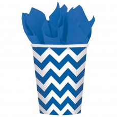 Bright Royal Blue Chevron Design Paper Cups 266ml Pack of 8