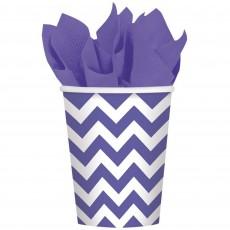 New Purple Chevron Design Paper Cups 266ml Pack of 8