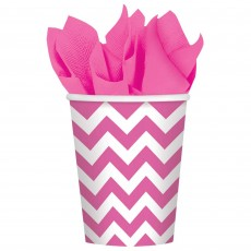 New Pink Chevron Design Paper Cups 266ml Pack of 8