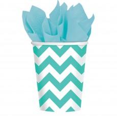 Robin's Egg Blue Chevron Design Paper Cups 266ml Pack of 8