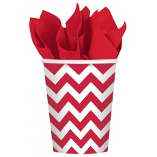 Apple Red Chevron Design Paper Cups 266ml Pack of 8