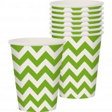 Kiwi Green Chevron Design Paper Cups 266ml Pack of 8