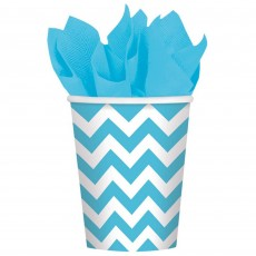 Caribbean Blue Chevron Design Paper Cups 266ml Pack of 8
