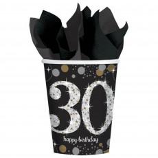 30th Birthday Black, Gold & Silver Sparkling Celebration Paper Cups
