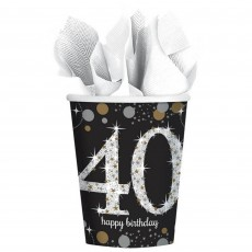 Black, Gold & Silver 40th Birthday Sparkling Celebration Paper Cups 266ml Pack of 8