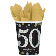 50th Birthday Sparkling Celebration Paper Cups 266ml Pack of 8