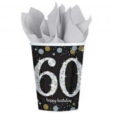 Black, Gold & Silver 60th Birthday Sparkling Celebration Paper Cups 266ml Pack of 8