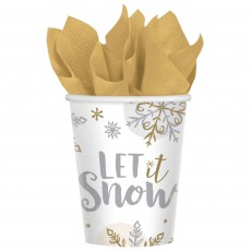 Christmas Party Supplies - Paper Cups Shining Snowflakes