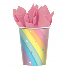 Magical Rainbow Paper Cups 266ml Pack of 8