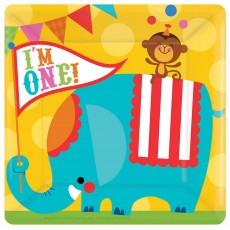 Square Fisher Price 1st Birthday Circus I'm One! Banquet Plates Pack of 8