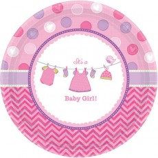 Shower with Love Girl It's a Baby Girl! Banquet Plates 26cm Pack of 8