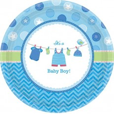 Shower with Love Boy It's a Baby Boy! Banquet Plates 26cm Pack of 8