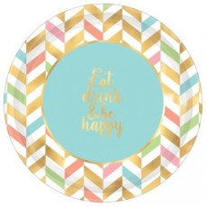 Round Happy Birthday Eat, Drink & Be Happy Banquet Plates 26cm Pack of 8