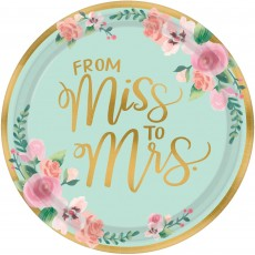 Round Bridal Shower Mint To Be From Miss to Mrs Banquet Plates 26cm Pack of 8