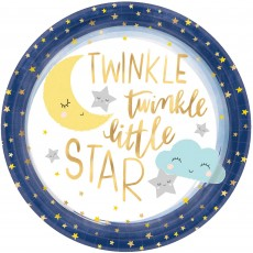 Round Twinkle Little Star Metallic Banquet Plates 26cm Pack of 8