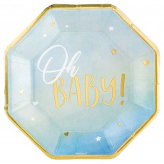 Oh Baby Boy Metallic Shaped Oh Baby! Banquet Plates 26cm Pack of 8