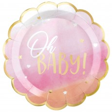 Oh Baby Girl Metallic Shaped Oh Baby! Banquet Plates 26cm Pack of 8